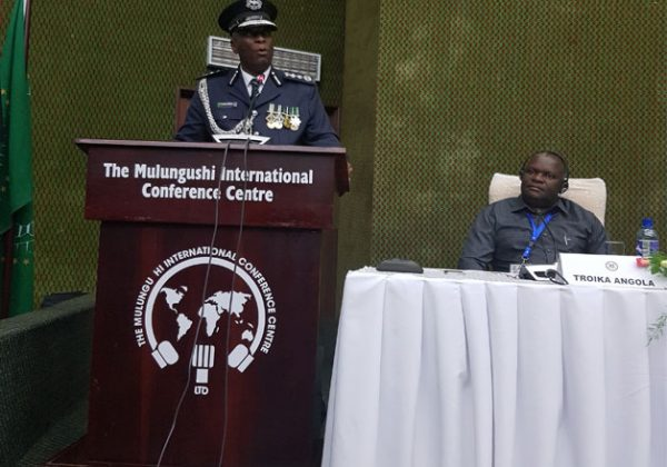 The Chairperson of SARPCCO and Zambia Police Inspector General addressing attendees at the meeting