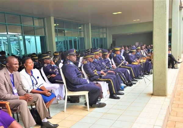 Attentive officers during a graduation ceremony